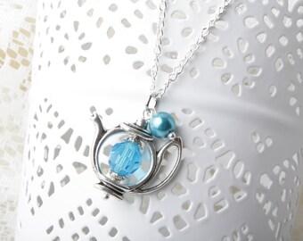 Teapot Necklace, Alice necklace, blue teapot necklace, Alice jewelry, tea time necklace, tea jewelry, Alice in Wonderland