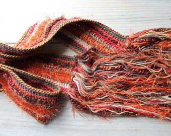 Hand crochet boho scarf / rich color for winter / gold / rusty brick reds / gypsy chic / multi color / long fringe / fall inspired colors