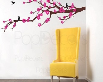 """Floral Branch Wall Decal Flowers Girl Room Decors- Prosperous Cherry Blossom (59"""" W ) - Living Room Bedroom Removable Vinyl Sticker pt0087"""
