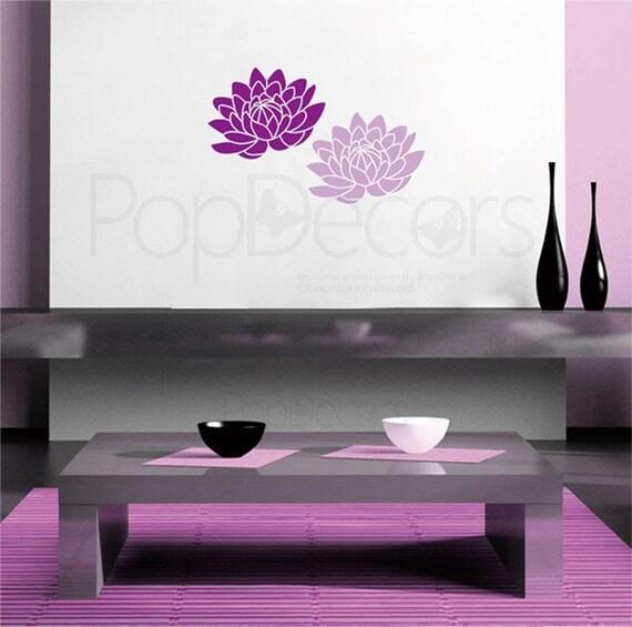 Articoli simili a stampini di parete con stencil gratis strumenti ninfea fiori parete - Stencil camera da letto ...