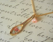 Tea Time Spoon Charm   Floral  Spoon Necklace
