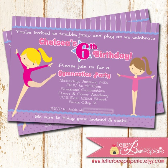 Gymnastics Theme Birthday Party Invitation - 5x7 Printable Digital Invite - Choose Your Colors - Tumbling Parties - Girls 3rd, 4th, 5th, 6t