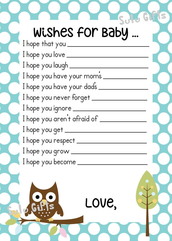 Sale baby boy baby owl shower game wishes for baby advice for Wishes for baby template printable