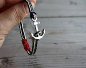 anchor bracelet...nautical bracelet...sailing jewelry...paracord bracelet..men's bracelet..sailrope bracelet..gift for men..MADE TO ORDER