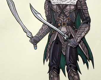Drizzt Do'Urden D&D Articulated Paper Doll - Dungeons Dragons Dark Elf with Guenhwyvar