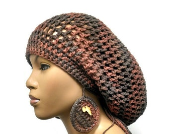 MADE TO ORDER Crochet  Earth Tones Slouch hat/ Slouchy Beret/Dreadlock hat w drawstring and free crochet earrings Africa pendant 100% Cotton