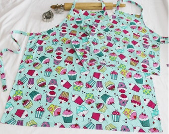 Aqua Cupcakes Mother Daughter Aprons