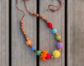 Bright Rainbow Necklace for Mom - Nursing Necklace - Teething Necklace - Apple Wood