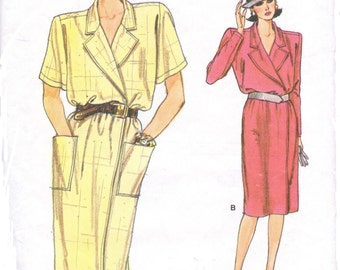 80s Womens Wrap Dress Vogue Sewing Pattern 9512 Size 8 10 12 Bust 31 1/2 to 34 UnCut Vintage Very Easy Very Vogue Patterns
