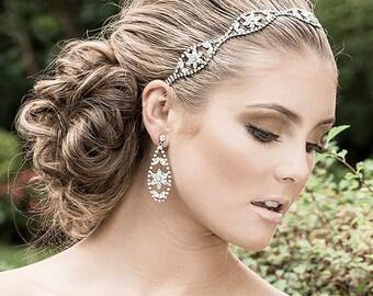 Bridal Hair Accessories, Wedding Headband, Swarovski Crystal Cluster Headwrap, Art Deco Hair Bandeau, Flower Rhinestone Headpiece  (FANTINE)