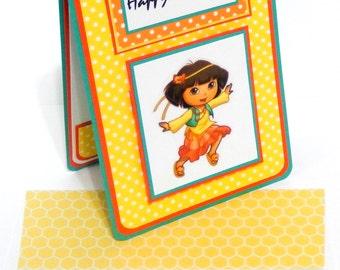 Dora Birthday Card with Matching Embellished Envelope