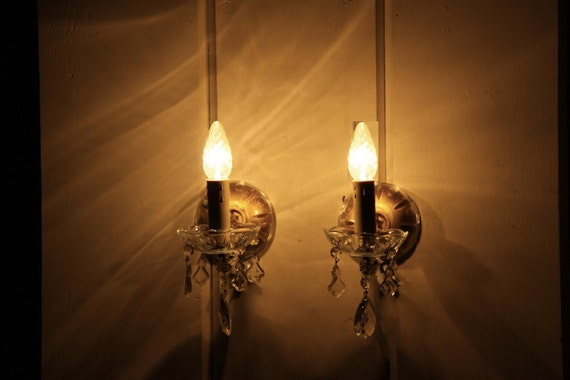 Wall Sconces With Hanging Crystals : Pair of French Wall Sconces with Hanging Faux Crystals