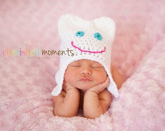 Sweet Tooth Hat - Dentist Newborn Photo Prop - Crochet