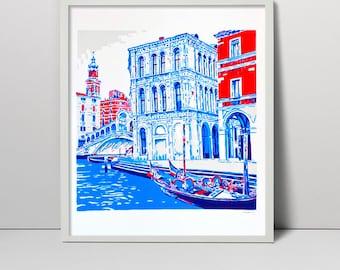 Original handmade screenprint Grand canal Venice Italy screen print art Venetian Venezia Italian Renaissance water grand gondola Rialto blue