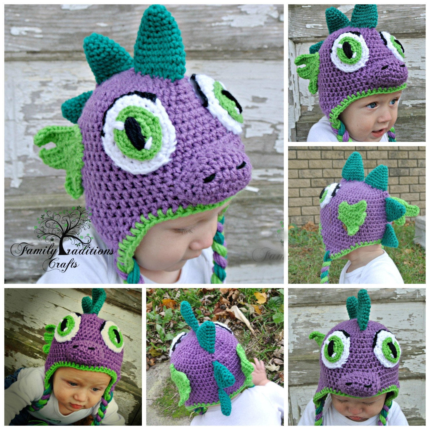 Free Crochet Pattern For Dinosaur Beanie : PATTERN Dinosaur or Dragon Crochet Hat Pattern PDF by ...