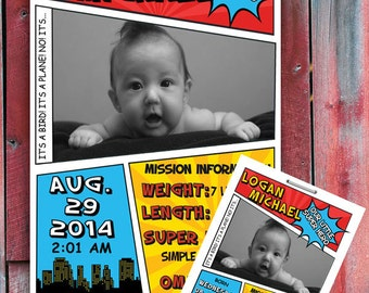 Superhero Custom Birth Announcement Digital File (PERSONALIZED)