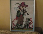 Vintage Needlepoint Boy Playing Violin With Dog Picture Framed / Scandinavian German Belgium