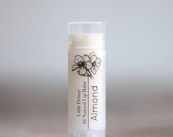 Almond Flavor Lip Balm, Chapstick, Natural lip balm, the little flower soap co, Beeswax Lip Balm, Gift for her best friend gift shower favor