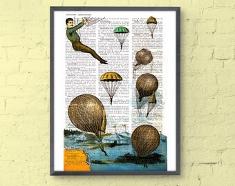 Vintage Book print hot air Balloon Parachute Print on Vintage Encyclopedic Dictionary  Book art TVH045