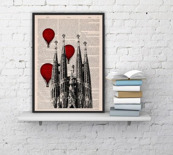 Spring Sale Barcelona Sagrada Familia Balloon Ride Print on Vintage Book art Gaudi Holy Family BPTV019b
