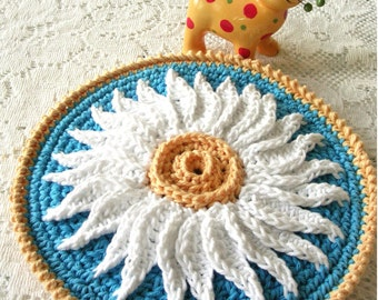 Crochet Potholder - Crochet Flower Pot Holder - Crochet Hot Pad - Daisy Crochet Trivet - Kitchen Housewares -