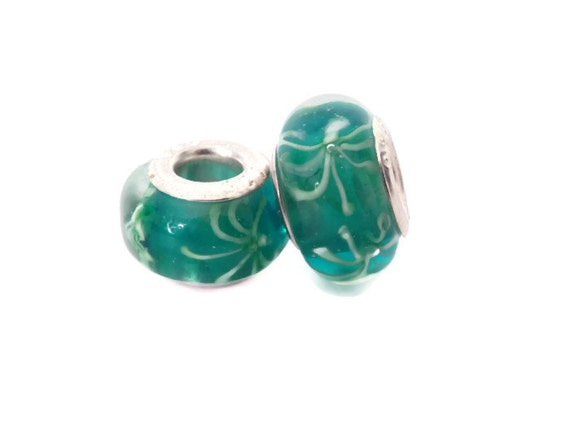 SALE - Green with White Accents European Style Large Hole Bead with a Sterling Silver Core