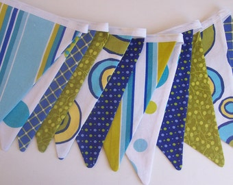 Blue and Green Fabric Bunting Banner / Photo Prop /  Birthday Decoration/ Boy Nursery Decoration/ Sage Green, Royal Blue, Baby Blue