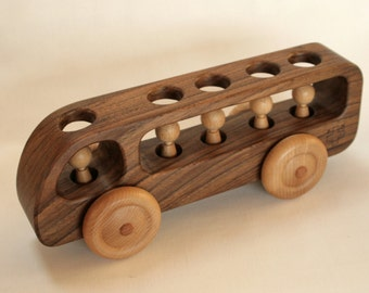Wooden Bus - Wooden toy Car - Walnut  wood-Eco Friendly Toy