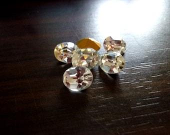 Machine Cut Vintage Swarovski Crystal Ovals- 10x8mm, 6pcs