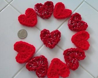 Crochet Hearts Applique Valentine Decoration Set of 10