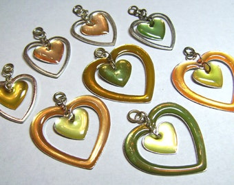Metal and Resin Double Heart Dangly Bracelet Charms