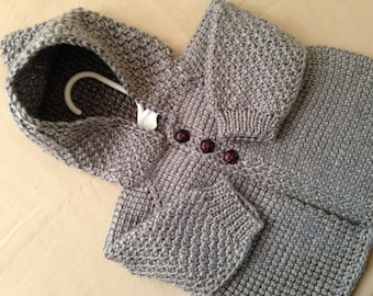 Grey Crochet Baby Sweater with Hood for Boy or Girl - MADE TO ORDER - Tunisian Crochet - Handmade