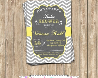 DIY  Grey Yellow chevron Baby Shower  PRINTABLE grey yellow Invitation 5x7 chalkboard - 1010