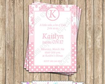 DIY Shabby Chic pink damask  Birthday Party  PRINTABLE Invitation 5x7 pink white -Cupcake Express