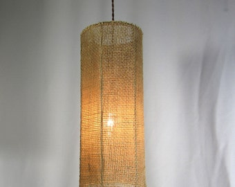 Hanging Lamp Shade Cylinder Pendant Beige Burlap Mesh Fabric Custom Hand Made