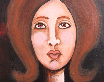 Original Painting - Portrait of Beautiful Brown Eyed Girl - Small Painting on Wood - Ready To Hang