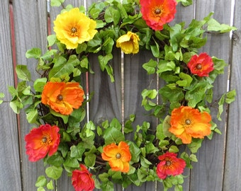 Spring / Summer Wreath with Poppies, Orange Yellow Red, California Poppies, Summer Sun Wreath, Fun in the Sun Wreath, Poppy, HornsHandmade
