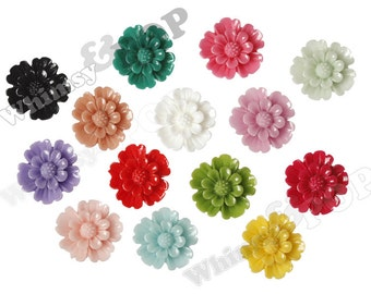 Mixed Color Daisy Beads, Flower Beads, Drilled Flowers, 20mm (R7-013/018)