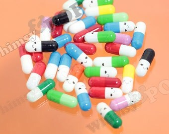 The LOVE PILL, Wish Pill Faux Smiley Capsule, Love Note, Note in a Bottle, 20mm x 7mm (R4-117)