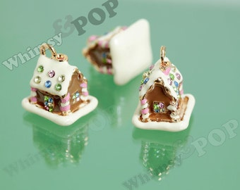 1 - 3D Xmas Christmas Gingerbread House Cottage Home House Charm, House Charm, Gingerbread House Charm, Christmas, 18mm x 17mm  (R8-067)