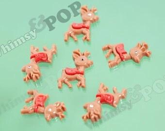 10 - Reindeer XMAS Christmas Wintertime Cabochons, Reindeer Cabochons, 22mm x 30mm (R4-114)