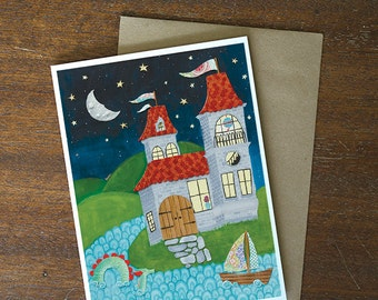 Greeting Card - whimsical castle blank card - by Paper Taxi