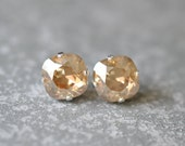 Champagne Gold Stud Earrings Swarovski Earrings Rounded Square Champagne Diamond Mist Stud Earrings Diamond Earrings Mashugana
