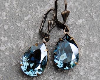 Denim Blue Mist Earrings Swarovski Crystal Vintage Earrings Pear Dangle Tear Drop Rhinestone Earrings Duchess Pear Mashugana