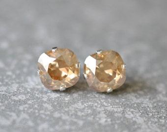 Champagne Gold Stud Earrings Swarovski Earrings Rounded Square Champagne Diamond Mist Stud Earrings Diamond Earrings Mashugana