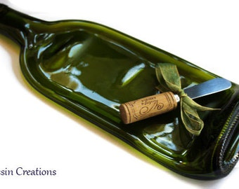 WINE Bottle Cheese Tray,  Spoon Rest, Eco Friendly Barware Gift, Dessin Creations
