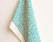 Tea Towel, Organic Cotton, Handprinted, Green Dish Towel, Kitchen