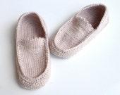 beige crochet slippers ,men slippers ,women slippers ,home shoes ,Womens House Slipper ,Loafers , unisex winter accessories by senoAccessory