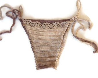 Crochet Bikini Cheeky Bikini Bottom Single Tie Bikini Thong Bikini Brazilian Bikini Bottoms Crochet Swimwear FOR HER senoAccessory