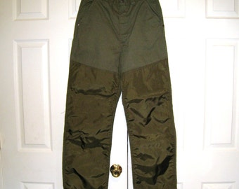Canvas Hunting Pants With Brush Guards / OD Green / 1960s Saf T Bak / Reinforced / 30 X 30 / Excellent Condition